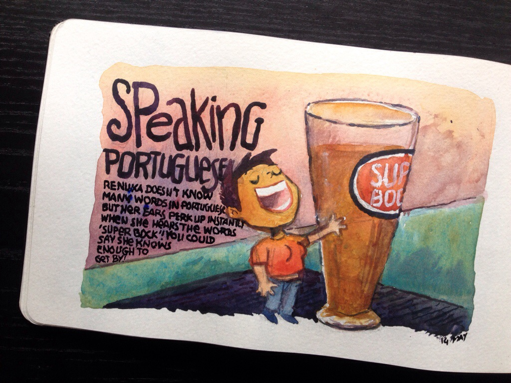 super bock, beer, portugal, cartoons, cartoon diary, moleskine, illustrations, Sean D'Souza, Psychotactics, cartooning